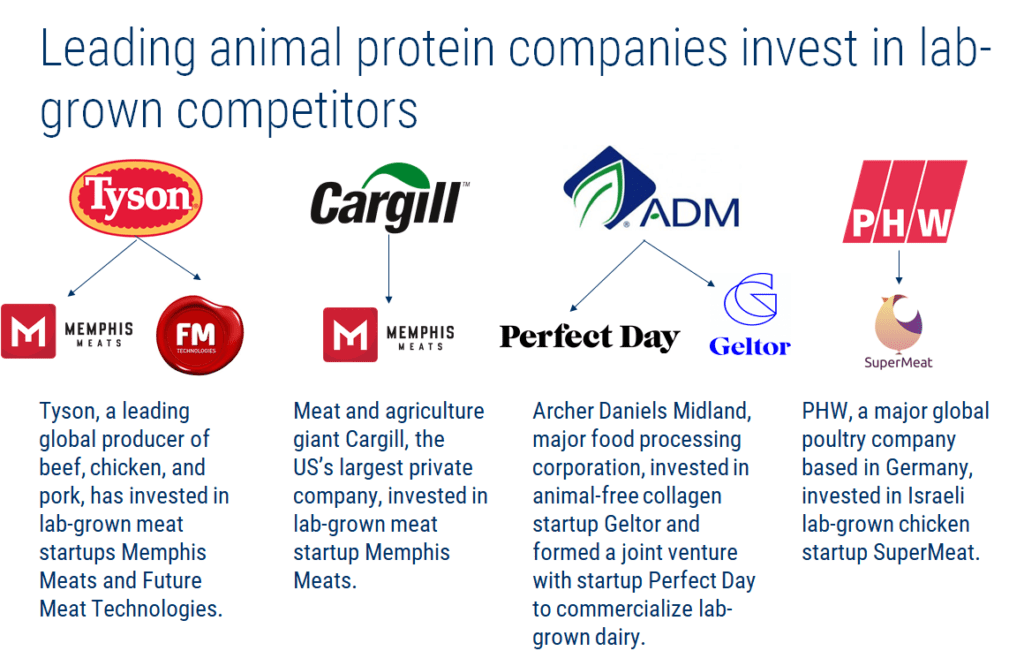 an infographic showing how major animal protein companies are investing in lab-grown protein initiatives