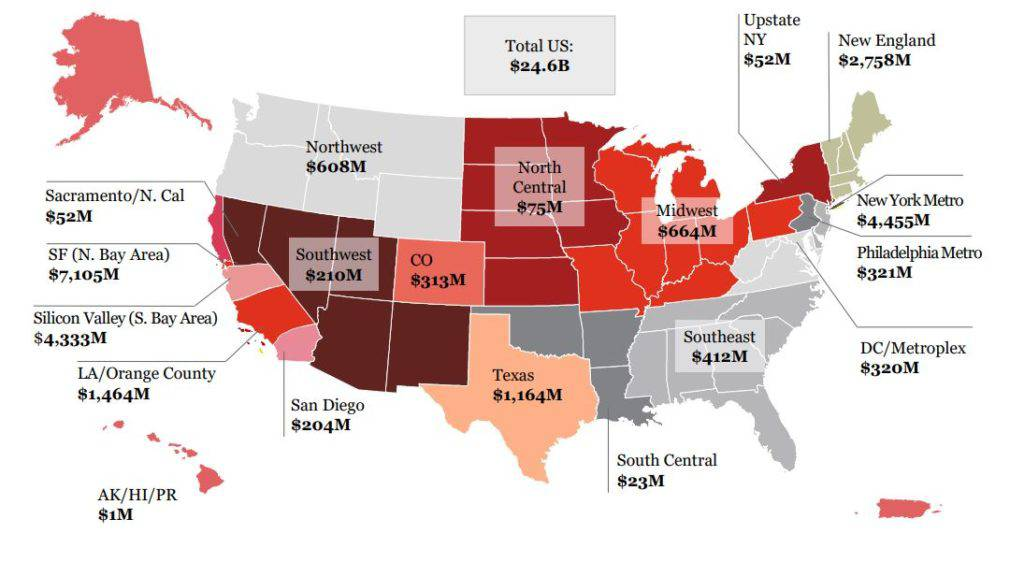 Map of the USA showing funding in each state