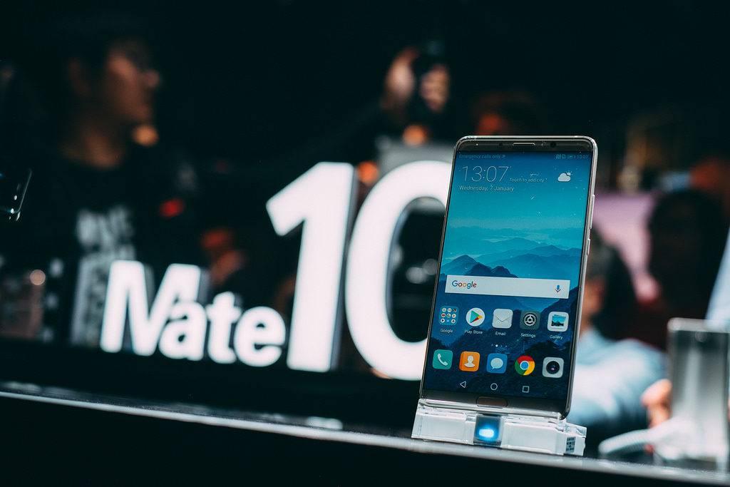Close-up of the Huawei MateX smartphone.