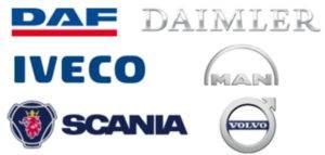 DAF, Daimler, Iveco, MAN, Scania, and Volvo autonomous truck