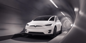 Tesla vehicle in The Boring Company's first tunnel