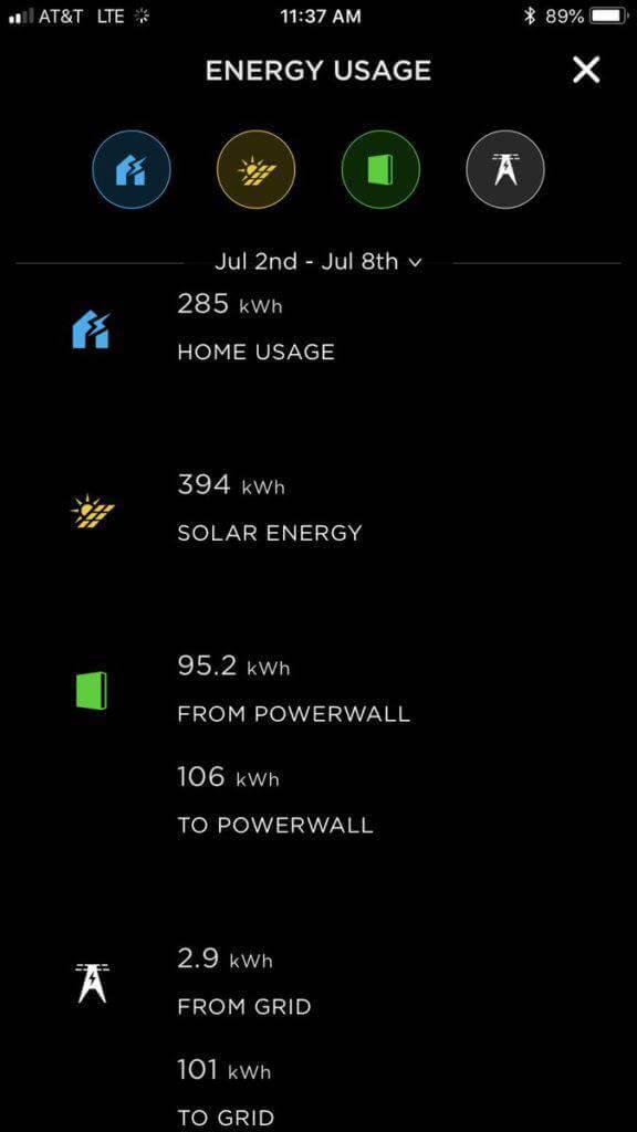 Energy usage app screenshot