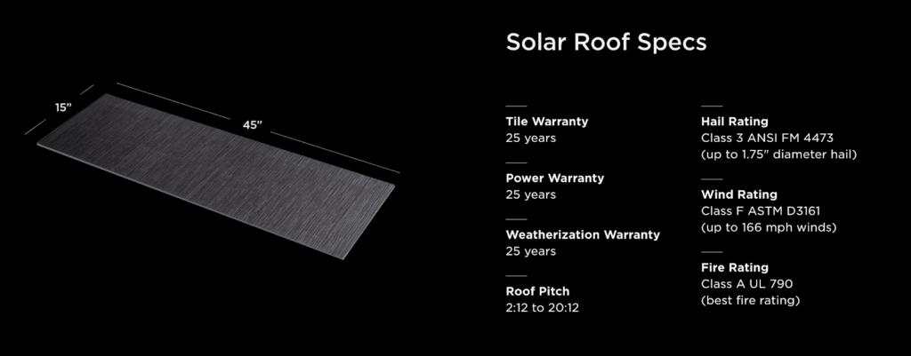 Tesla's Solar roof specs