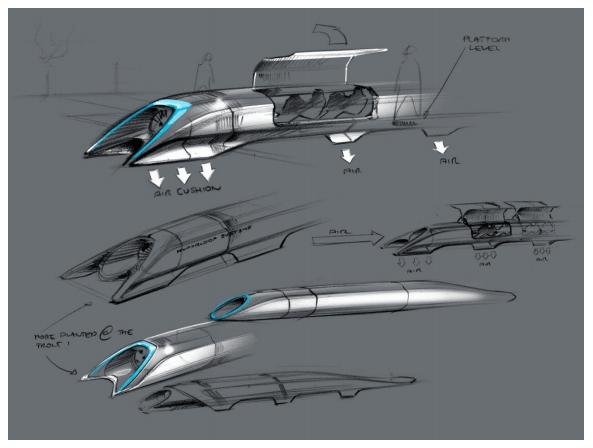 Elon Musk's hyperloop sketch of passenger pod