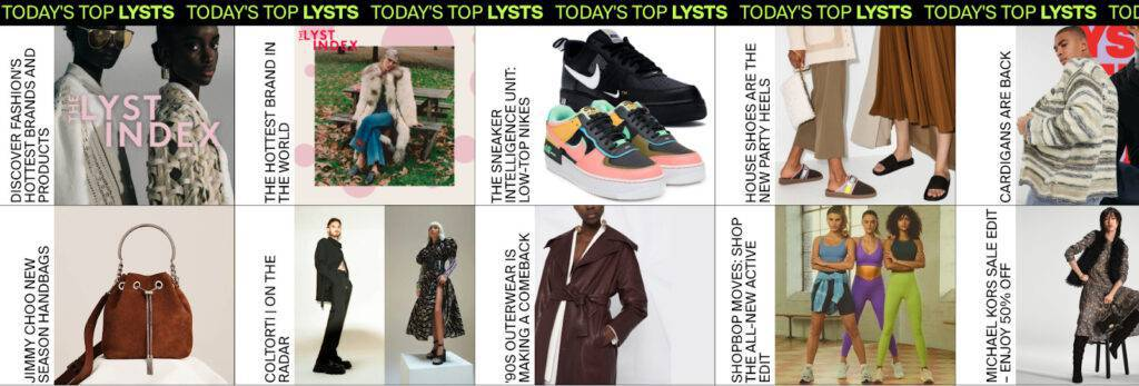 Selection of curated fashion Lysts