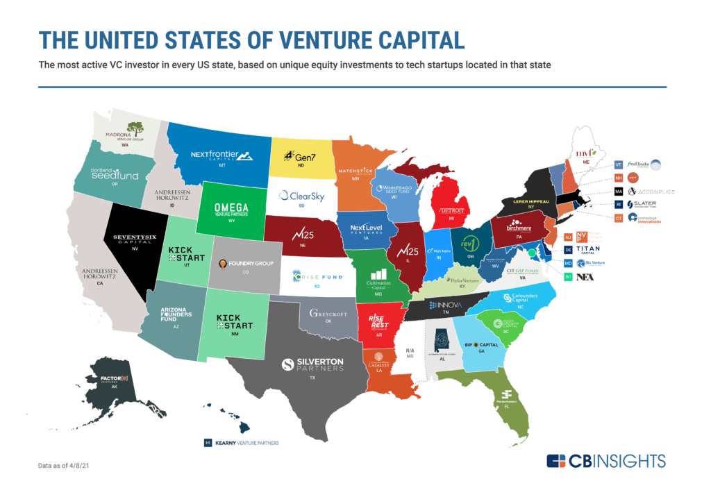 A map showing the most active VC investor in every US state, based on tech startup investments
