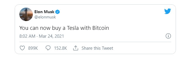 Elon Musk shares on Twitter that Tesla accepts Bitcoin as a form of payment