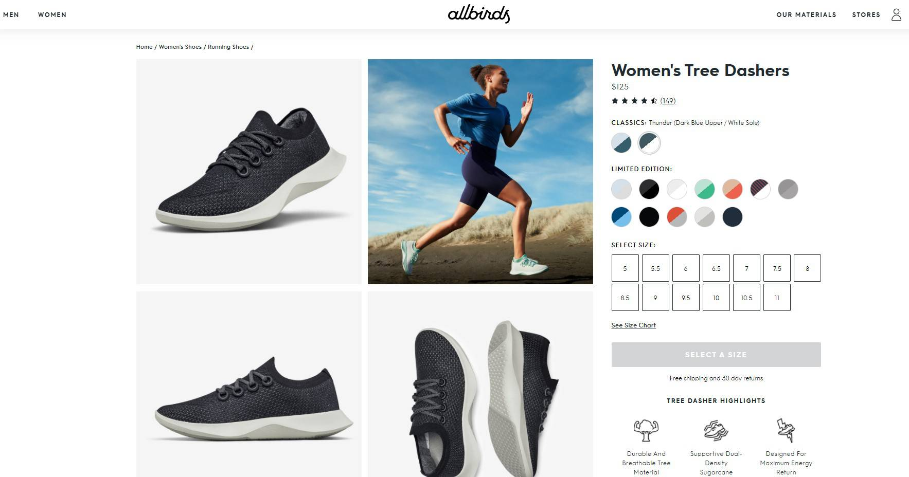 Allbirds product page for Women's Tree Dashers showing a female runner and sneakers