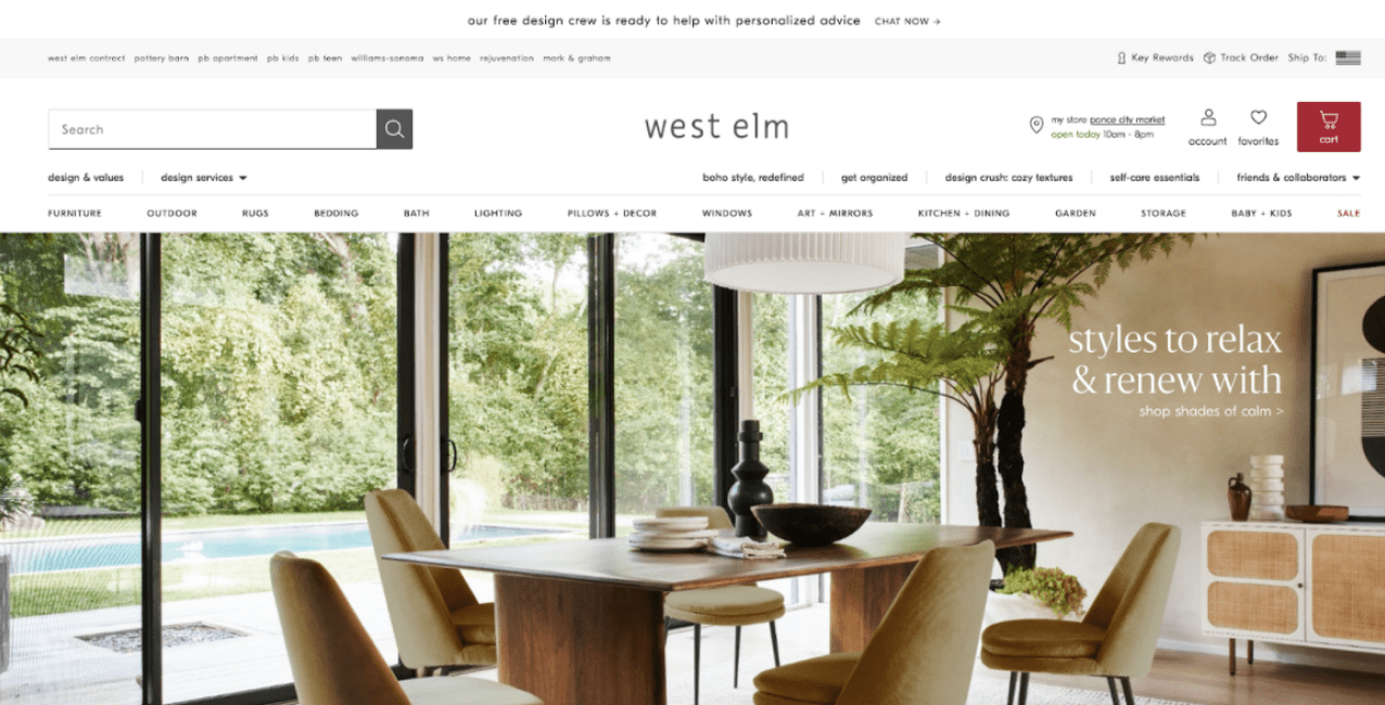 West Elm's main page showing a room with a table and five chairs with a pool visible through large windows