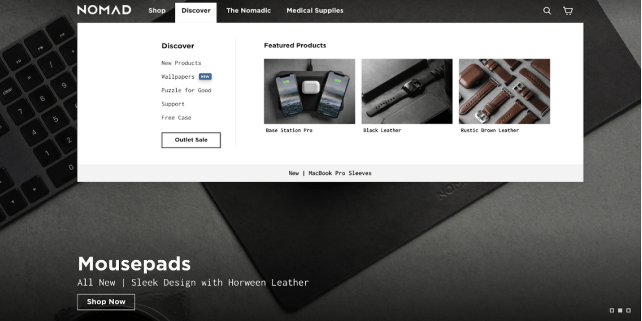 Nomad's landing page for mousepads with upper menu displaying additional featured products