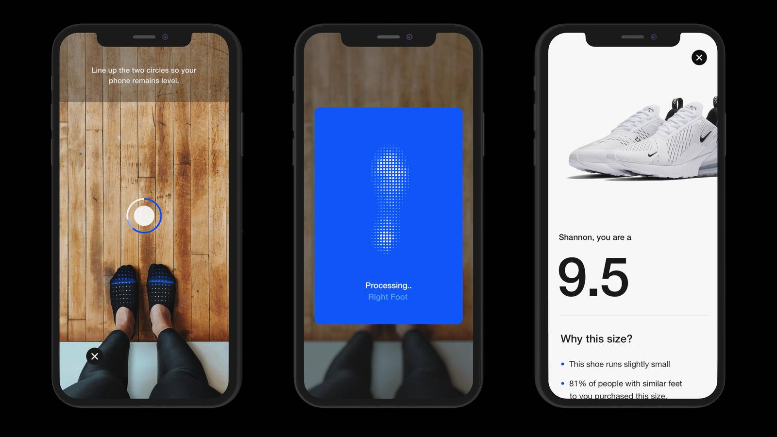 Three smartphone screens showing different actions of the Nike Fit app, from scanning to shoe recommendations