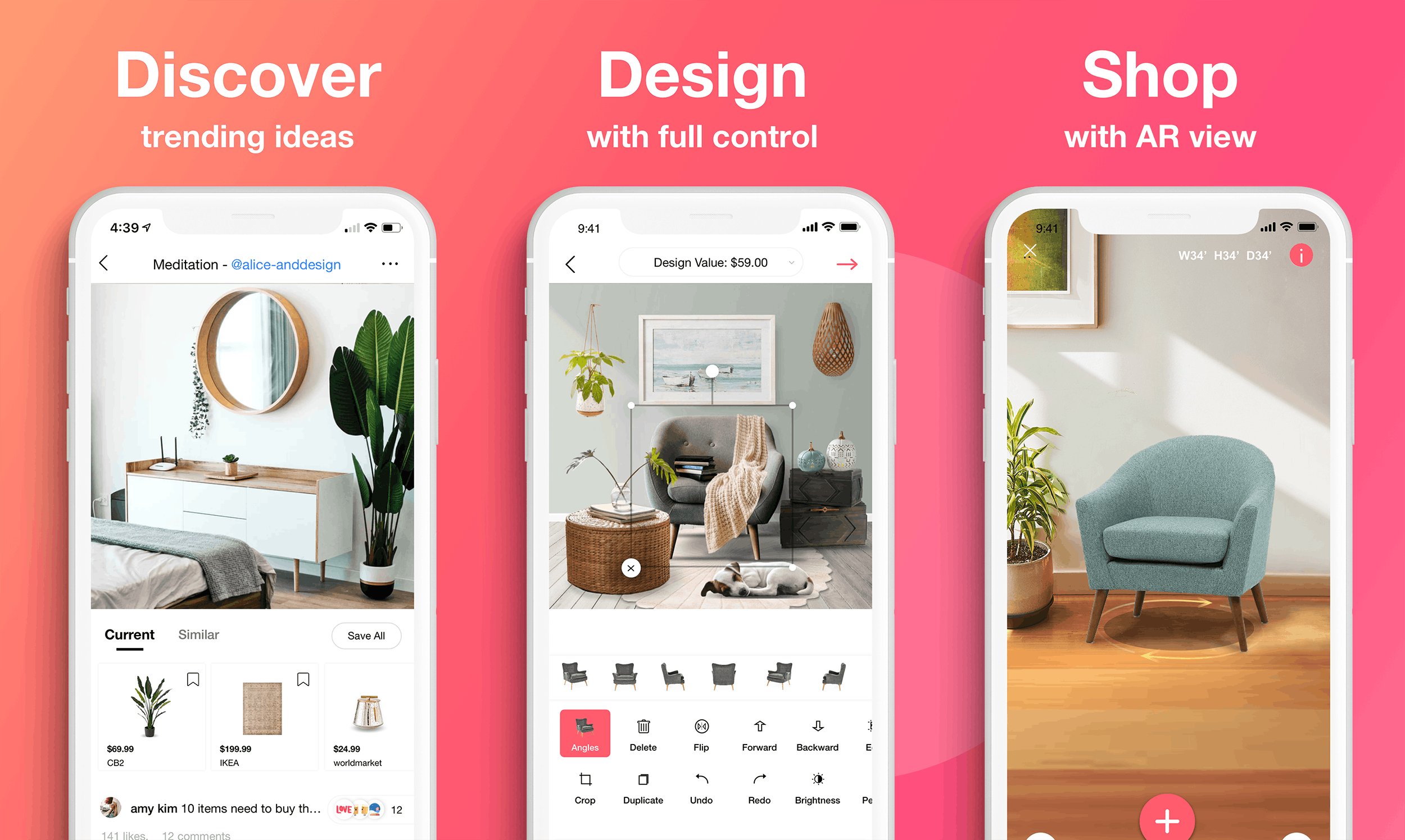 Three smartphones showing various home decoration capabilities of the DecorMatters app