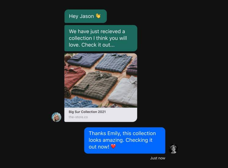 Messages sent by a sales associate to a client via the HERO app informing him of a new collection