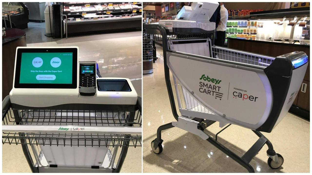 Smart Cart at Sobeys stores with a close-up of a digital screen and a payment terminal