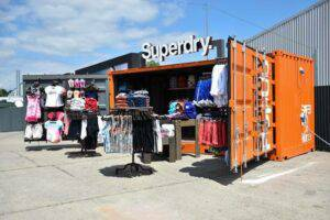 Superdry pop-up store in shipping container