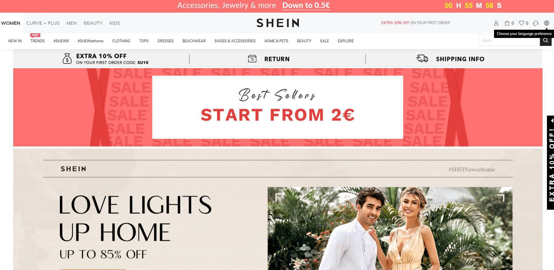 A web interface of the online e-commerce platform Shein with product menus, discounts, and new offers