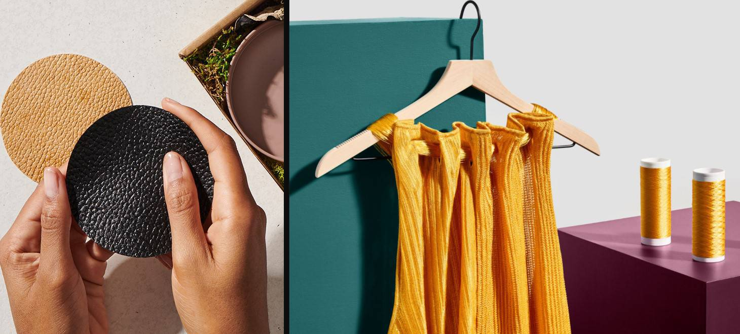 Hands holding a leather-like fabric and a yellow dress on a cloths hanger