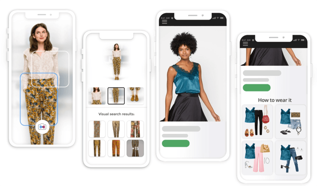 An app scanning clothes and showing recommended products