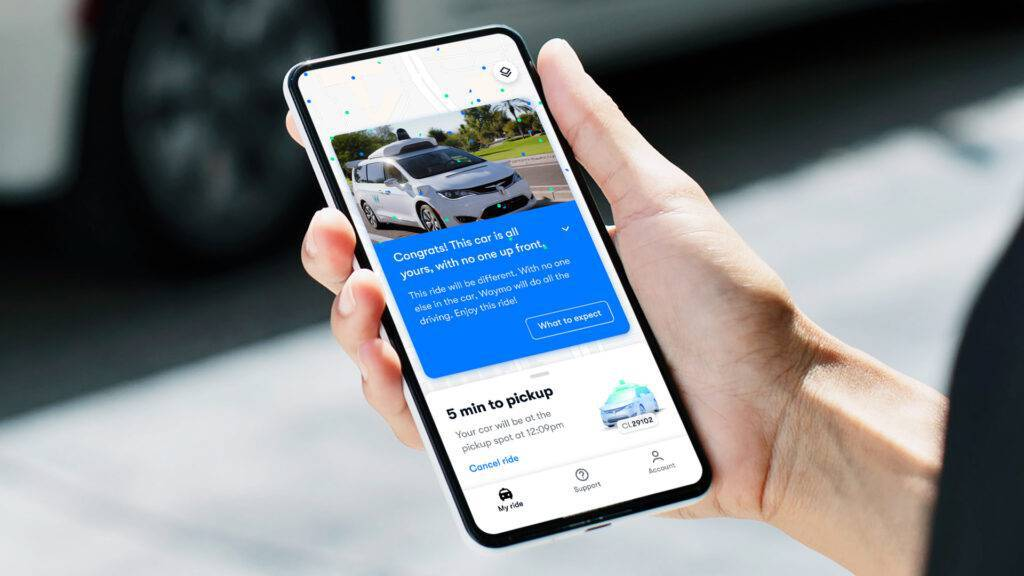 Smartphone app of the Waymo's driverless service using Google's self-driving cars
