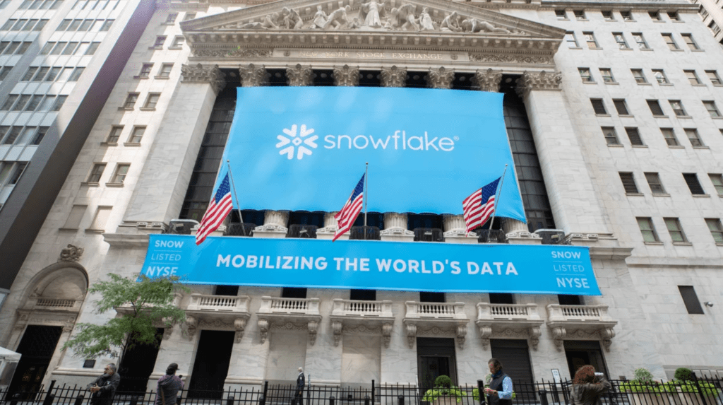 Snowflake's banner over the New York Stock Exchange on its IPO debut