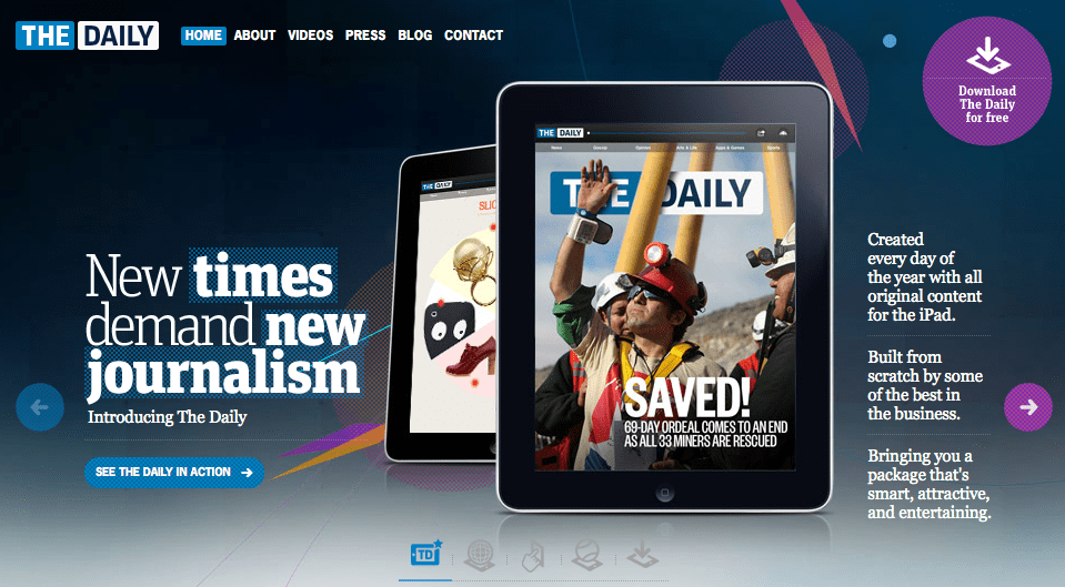 Newscorp's The Daily tablet-only newspaper