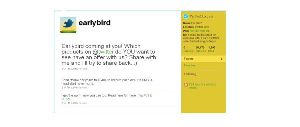 Twitter's Early Bird offering special deals and discounts to users