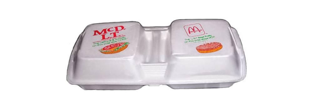 McDonald's McDLT sandwich in twin styrofoam package