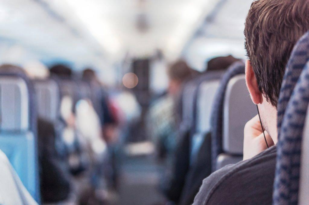Millennial on an airplane