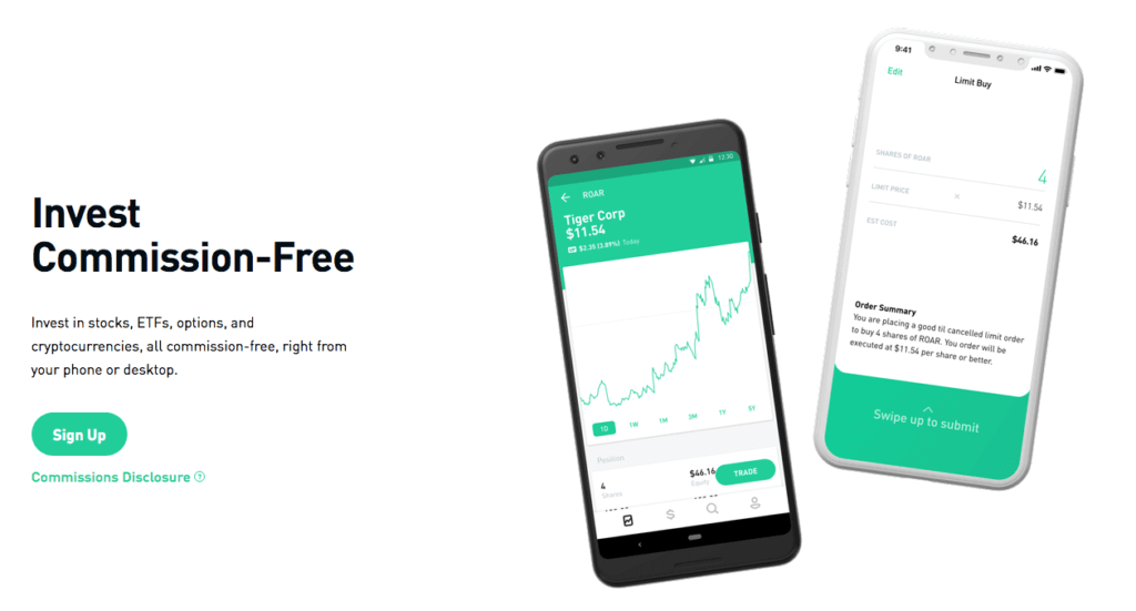 Robinhood's commission-free sign up page