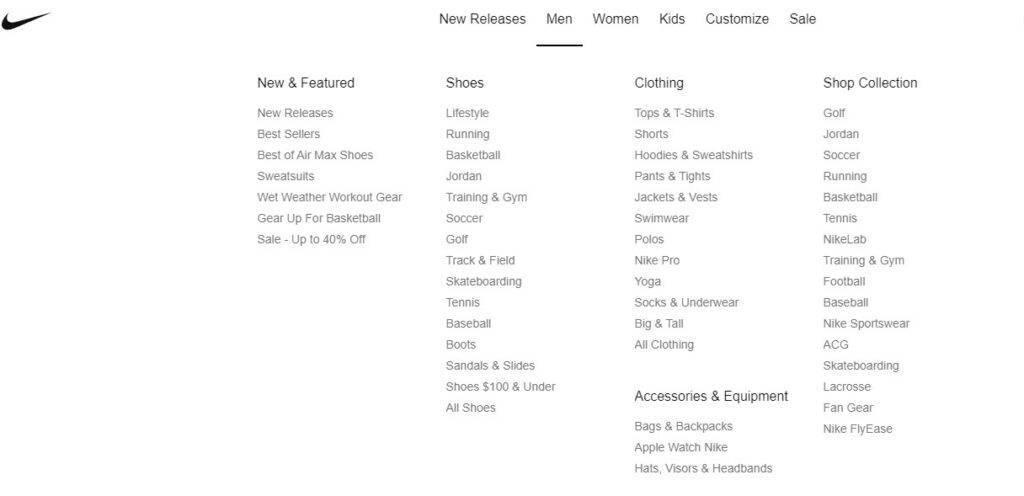 Danh mục quần áo, phụ kiện và giày dép của Nike