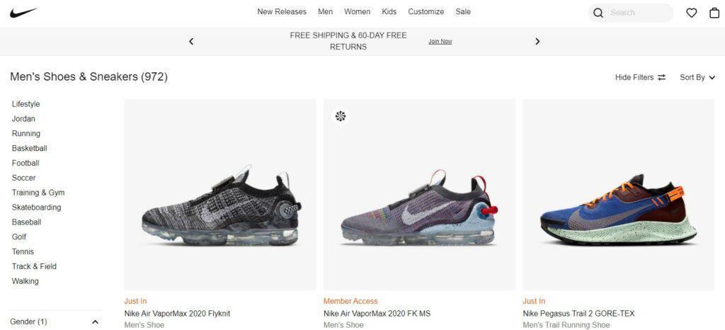 972 tùy chọn giày nam Nike