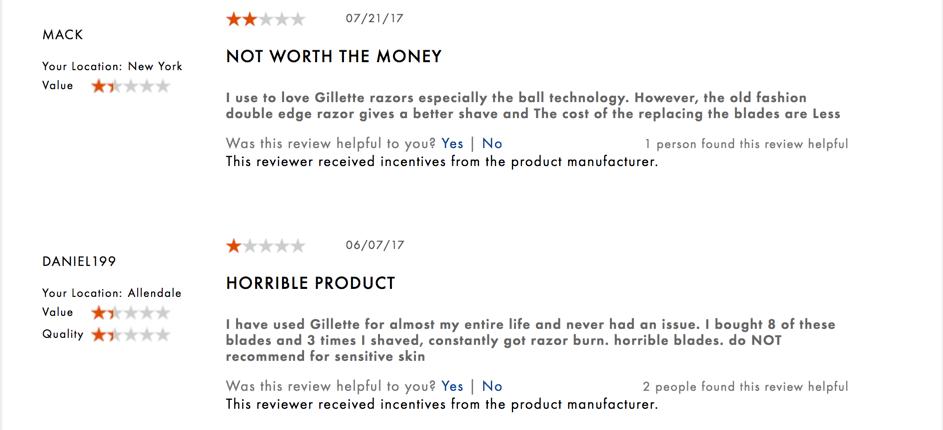 Đánh giá xấu của Gillette Razor