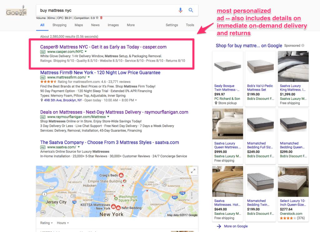 Quảng cáo Google được cá nhân hóa từ nệm Casper trong kết quả tìm kiếm cho thuật ngữ: mua nệm NYC