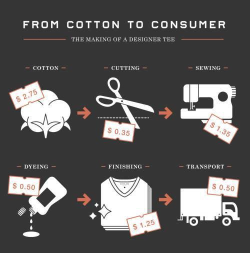 Infographic của Everlane về chi phí thực sự của áo phông thiết kế, chi phí được giải thích từ bông đến người tiêu dùng