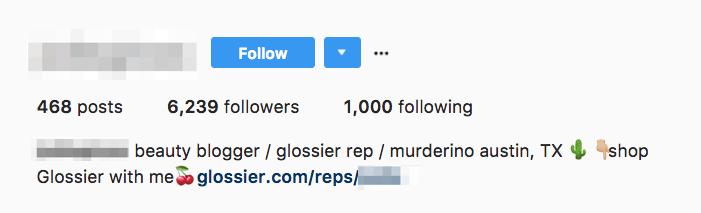Trang Instagram của đại diện Glossier