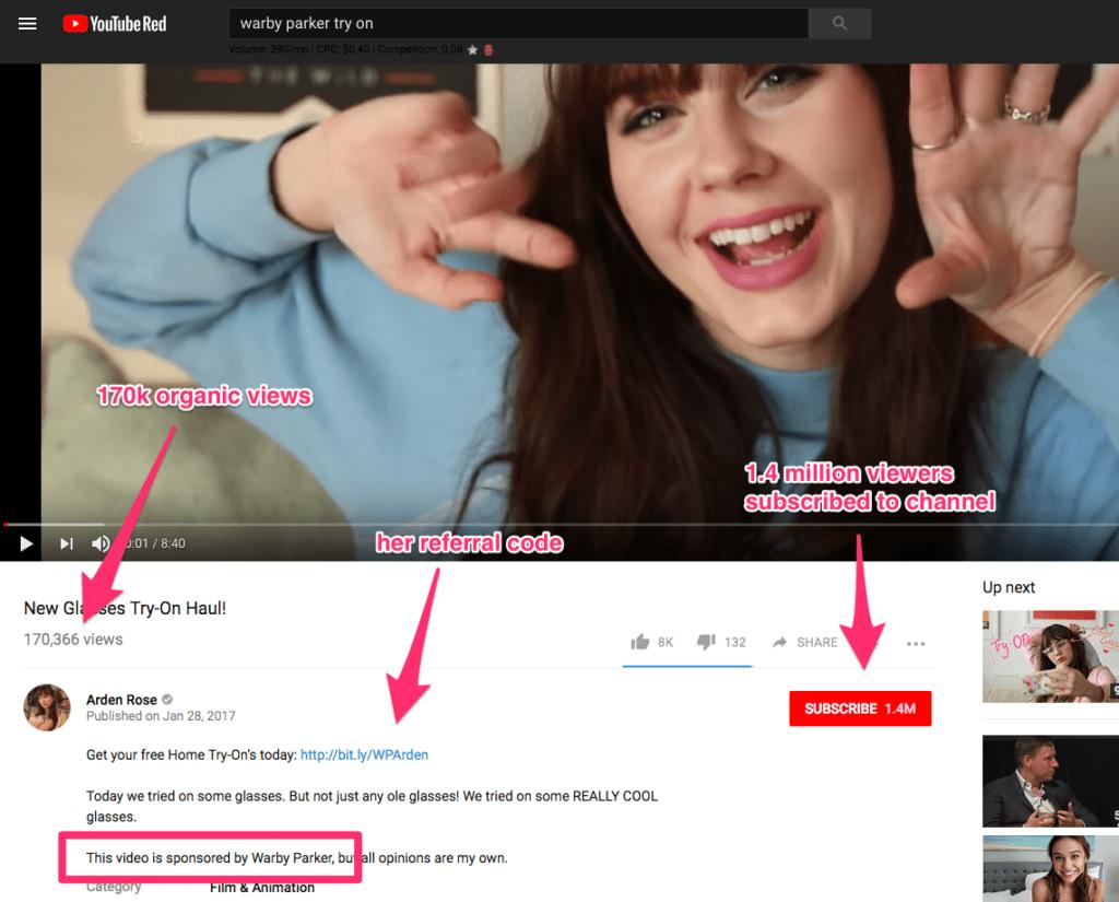 Nhà Warby Parker được tài trợ của Influencer thử video qua YouTube với liên kết giới thiệu và 170.000 lượt xem