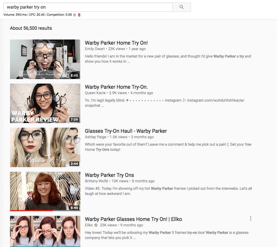 Warby Parker về nhà thử video trên YouTube