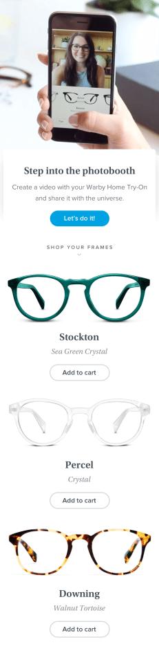Tùy chọn chia sẻ video trên ứng dụng Warby Parker trên iOS