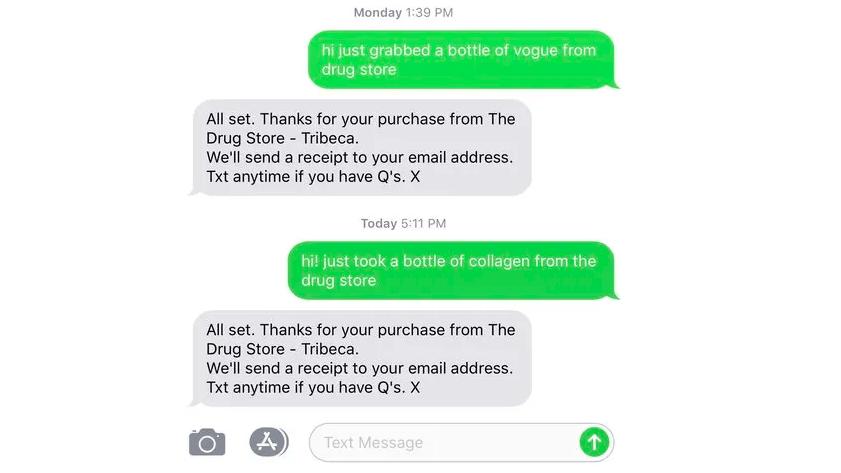 Tin nhắn văn bản từ đại diện cửa hàng Dirty Lemon