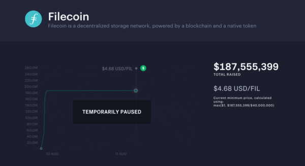 Filecoin was temporarily paused in August