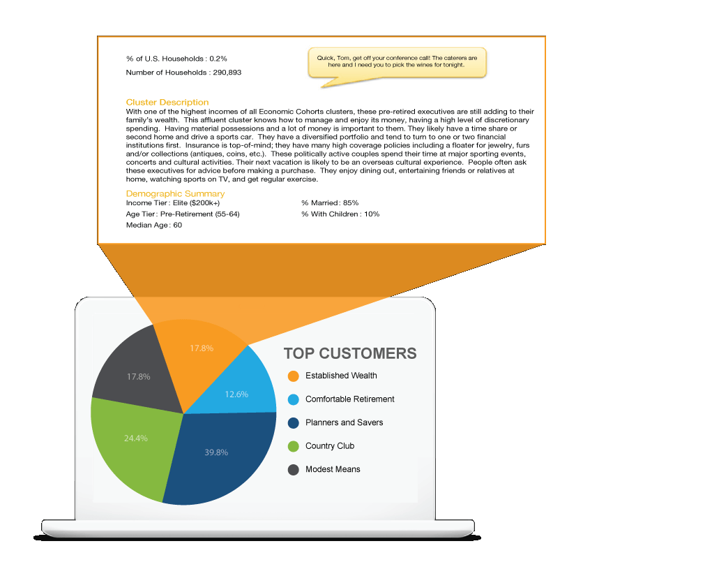 Tranzlogic's top customers chart with details on the established wealth cluster