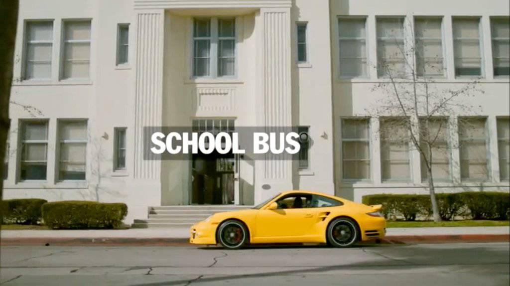 Porsche's school bus campaign that showcased the yellow 911 Porsche