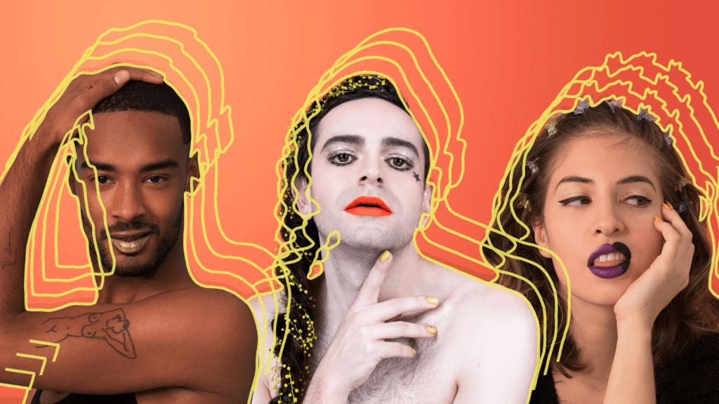 Models on a bright orange background showcasing Fluide's general neutral makeup.