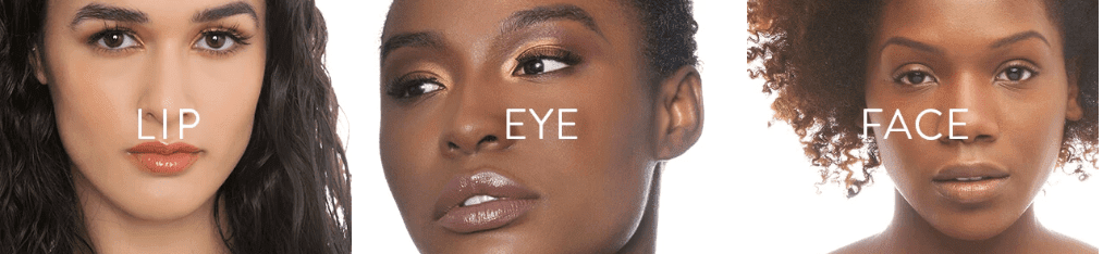"""Image featuring 3 women with different skin tones and the works """"lip,"""" """"eye,"""" and """"face"""" (in reference to makeup)."""