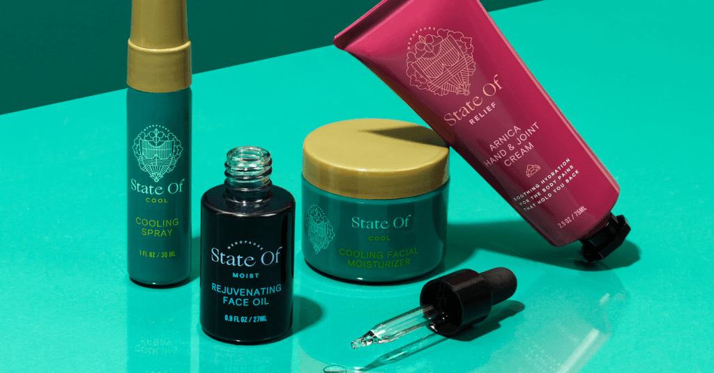 State Of beauty products laid out on a bright turquoise background.