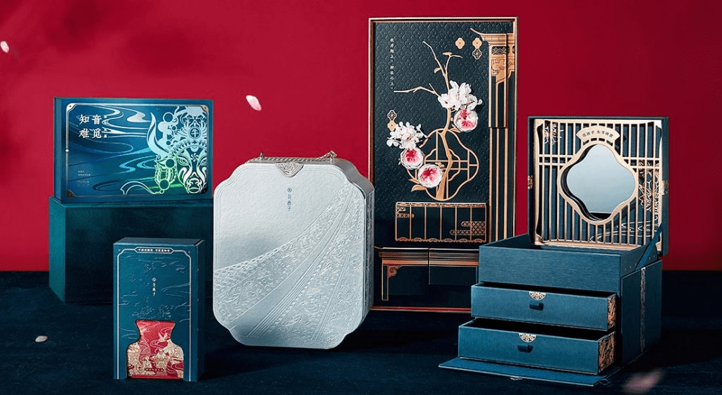 Florasis products featuring traditional Chinese prints are shown on a red background.