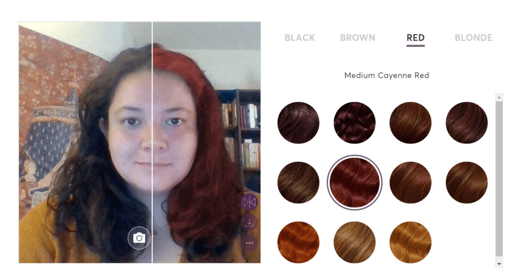Image depicting a user using Madison Reed's hair color virtual reality comparison tool