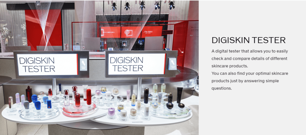 Image of Shiseido's digiskin tester available in=store.