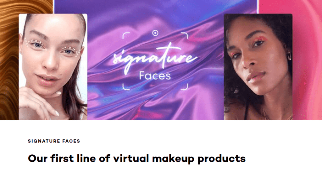 """Image highlighting L'Oreal's """"virtual makeup products"""" filters."""